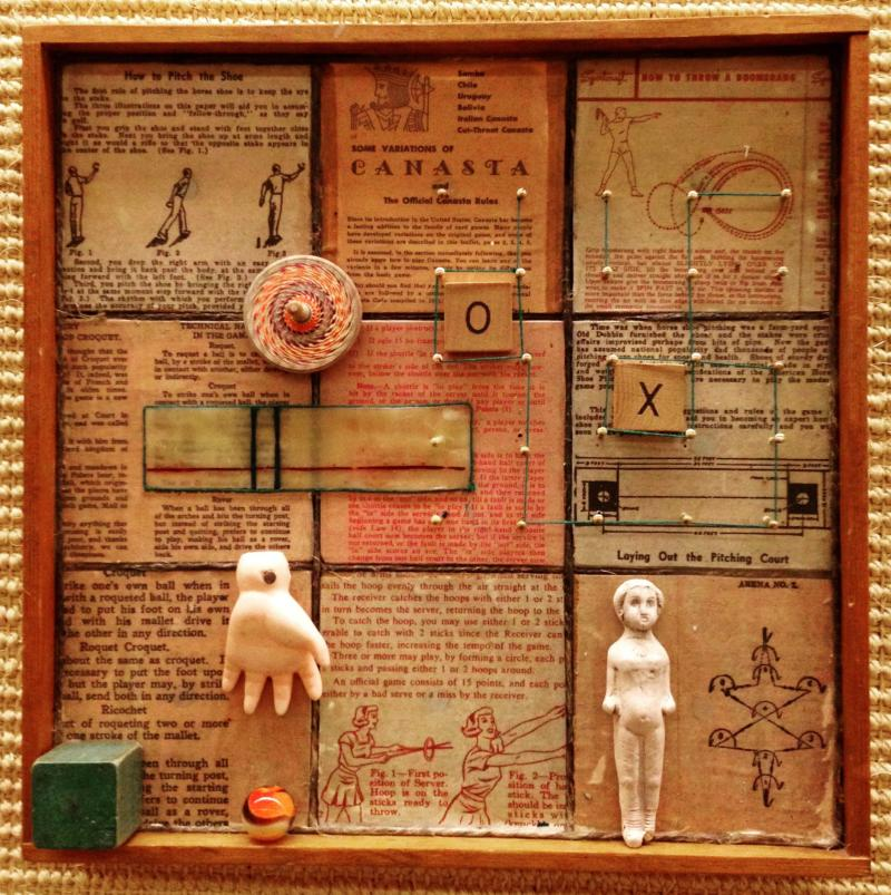 Games, encaustic collage